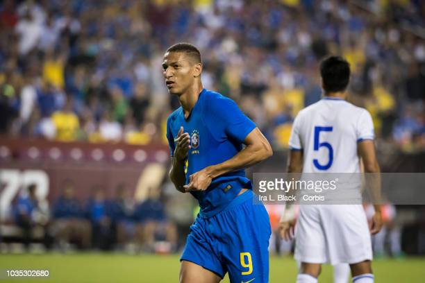 Richarlison of Brazil celebrates his goal in the 1st half of the international friendly soccer match between Brazil and El Salvador at FedExField on...