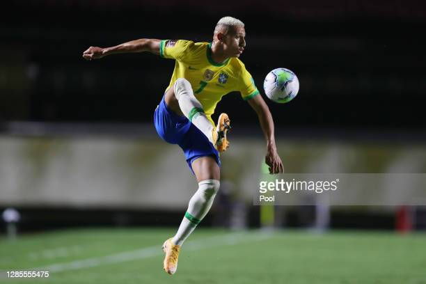 Richarlison of Brazil controls the ball during a match between Brazil and Venezuela as part of South American Qualifiers for World Cup FIFA Qatar...