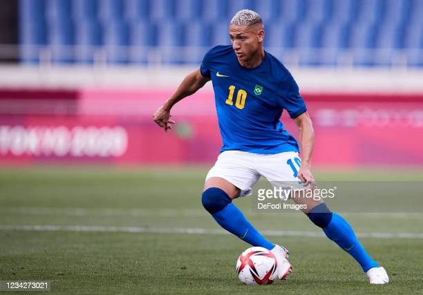 Richarlison of Brazil controls the ball during the Men's Group D match between Saudi Arabia and Brazil on day five of the Tokyo 2020 Olympic Games at...
