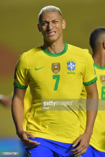 Richarlison of Brazil gestures during a match between Brazil and Venezuela as part of South American Qualifiers for World Cup FIFA Qatar 2022 at...