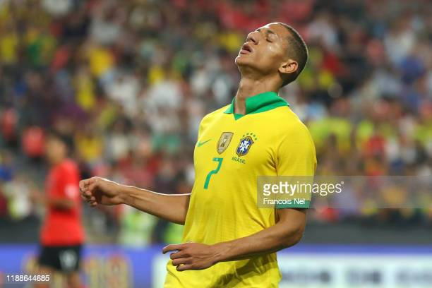 Richarlison of Brazil reacts during the International Friendly match between Brazil and Korea Republic at Mohammed bin Zayed Stadium on November 19,...