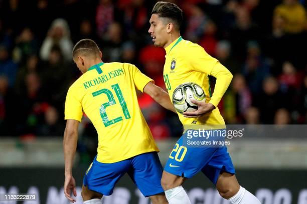 Richarlison of Brazil Roberto Firmino of Brazil celebrates during the International Friendly match between Czech Republic v Brazil at the Sinobo...