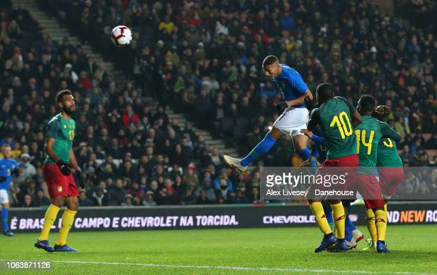 Richarlison of Brazil scores the opening goal during the International Friendly match between Brazil and Cameroon at Stadium mk on November 20 2018...