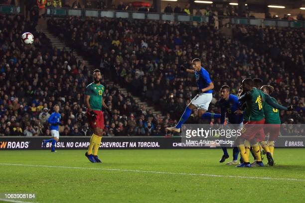 Richarlison of Brazil scores the winning goal during the International Friendly match between Brazil and Cameroon at Stadium mk on November 20 2018...