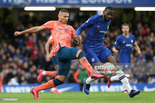 Richarlison of Everton and Antonio Rudiger of Chelsea during the Premier League match between Chelsea FC and Everton FC at Stamford Bridge on March 8...