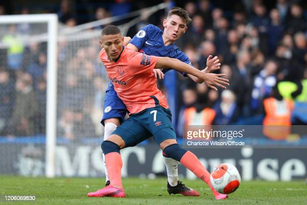 Richarlison of Everton and Billy Gilmour of Chelsea during the Premier League match between Chelsea FC and Everton FC at Stamford Bridge on March 8...