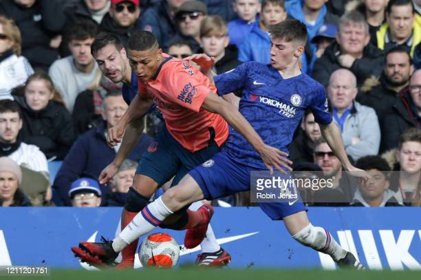 Richarlison of Everton and Billy Gilmour of Chelsea during the Premier League match between Chelsea FC and Everton FC at Stamford Bridge on March 08...