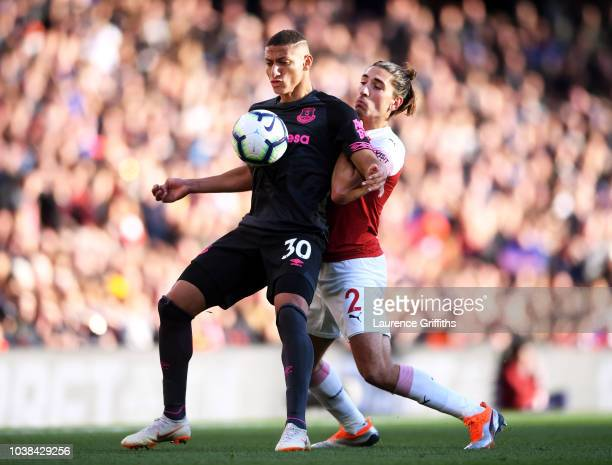 Richarlison of Everton battles for posession with Hector Bellerin of Arsenal during the Premier League match between Arsenal FC and Everton FC at...