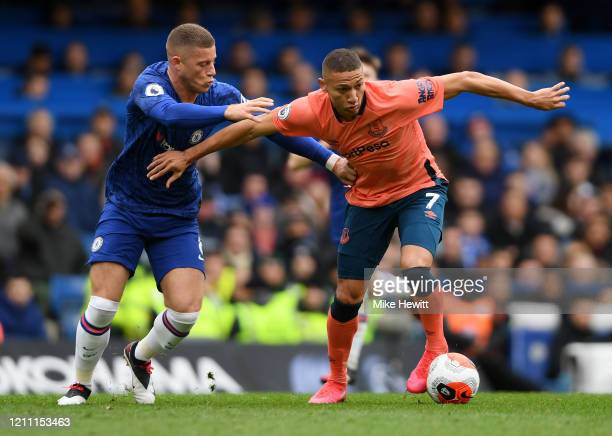 Richarlison of Everton battles for possession with Ross Barkley of Chelsea during the Premier League match between Chelsea FC and Everton FC at...