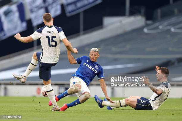 Richarlison of Everton battles with Eric Dier of Tottenham and Pierre-Emile Hojbjerg of Tottenham during the Premier League match between Tottenham...