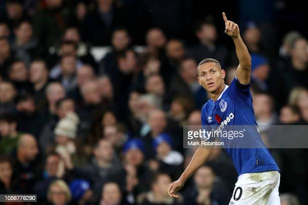 Richarlison of Everton celebrates after he scores his sides first goal during the Premier League match between Everton FC and Brighton Hove Albion at...