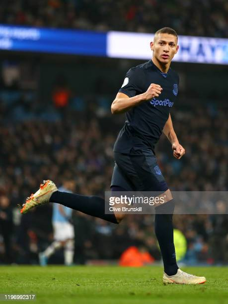 Richarlison of Everton celebrates after he scores his sides first goal during the Premier League match between Manchester City and Everton FC at...