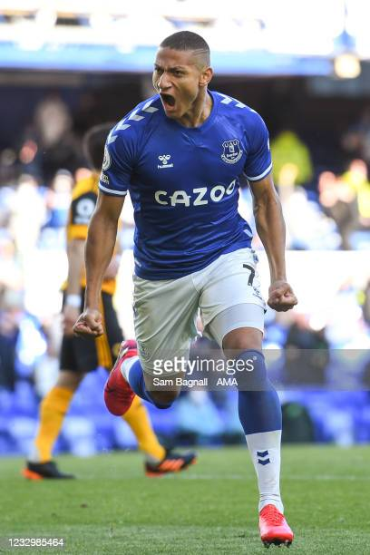 Richarlison of Everton celebrates after scoring a goal to make it 1-0 during the Premier League match between Everton and Wolverhampton Wanderers at...