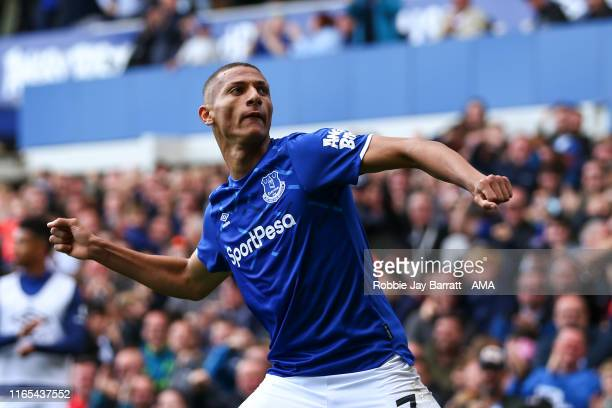 Richarlison of Everton celebrates after scoring a goal to make it 3-2 during the Premier League match between Everton FC and Wolverhampton Wanderers...