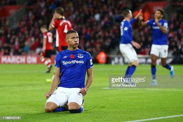 Richarlison of Everton celebrates after scoring his sides second goal during the Premier League match between Southampton FC and Everton FC at St...