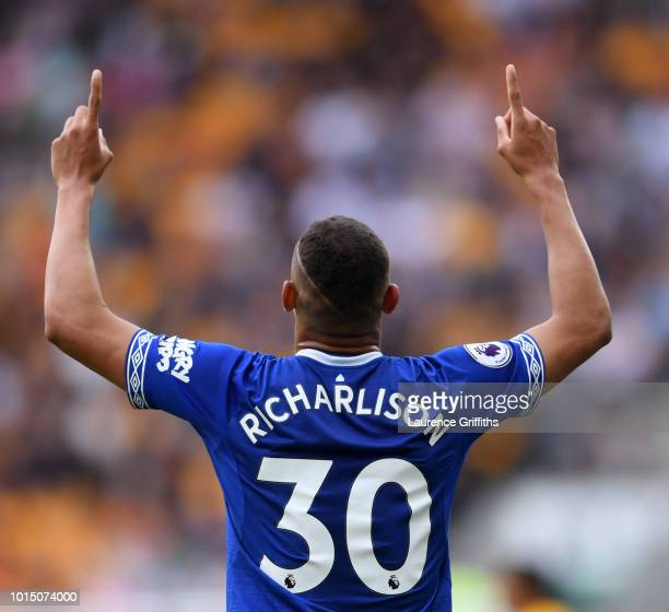 Richarlison of Everton celebrates after scoring his team's first goal during the Premier League match between Wolverhampton Wanderers and Everton FC...