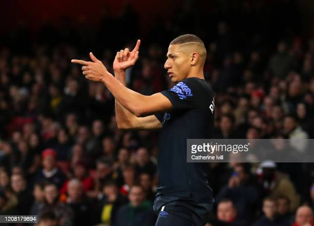 Richarlison of Everton celebrates after scoring his team's second goal during the Premier League match between Arsenal FC and Everton FC at Emirates...