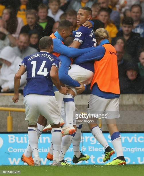 Richarlison of Everton celebrates after scoring their second goal during the Premier League match between Wolverhampton Wanderers and Everton FC at...