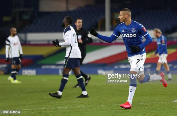 Richarlison of Everton celebrates after scoring their side's second goal during The Emirates FA Cup Fifth Round match between Everton and Tottenham...