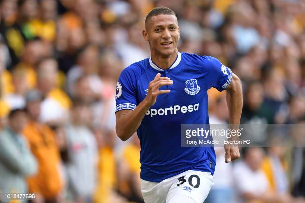 Richarlison of Everton celebrates his first goal during the Premier League match between Wolverhampton Wanderers and Everton FC at Molineux on August...
