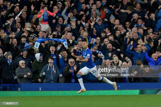Richarlison of Everton celebrates his goal during the Premier League match between Everton and Chelsea at Goodison Park on March 17 2019 in Liverpool...