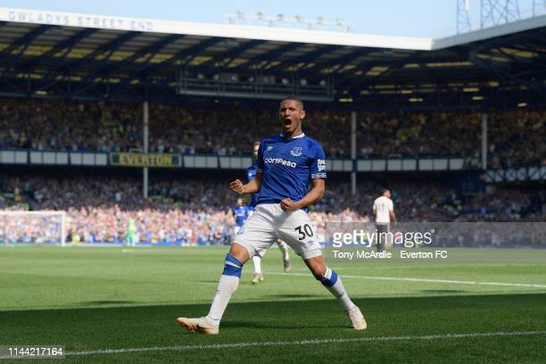 Richarlison of Everton celebrates his goal during the Premier League match between Everton FC and Manchester United at Goodison Park on April 21 2019...