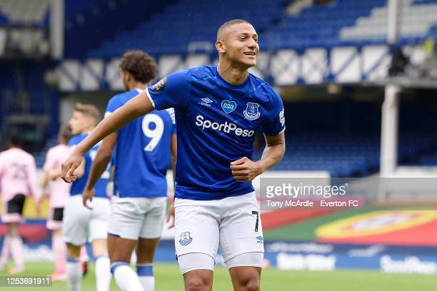 Richarlison of Everton celebrates his goal during the Premier League match Everton and Leicester City at Goodison Park on July 1 2020 in Liverpool,...