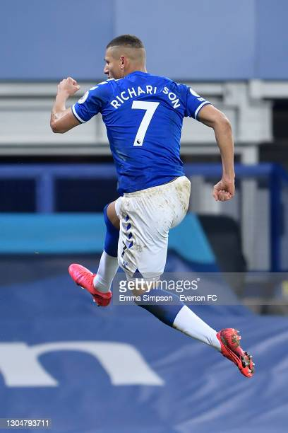 Richarlison of Everton celebrates his goal during the Premier League match between Everton and Southampton at Goodison Park on March 2021 in...