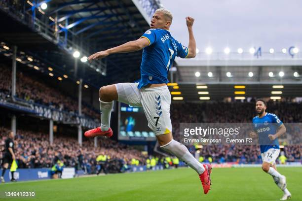 Richarlison of Everton celebrates his goal during the Premier League match between Everton and Watford at Goodison Park on October 23, 2021 in...