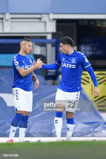 Richarlison of Everton celebrates his goal with Ben Godfrey during the Premier League match between Everton and Southampton at Goodison Park on March...