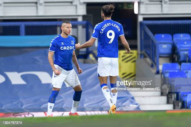 Richarlison of Everton celebrates his goal with Dominic Calvert-Lewin during the Premier League match between Everton and Southampton at Goodison...