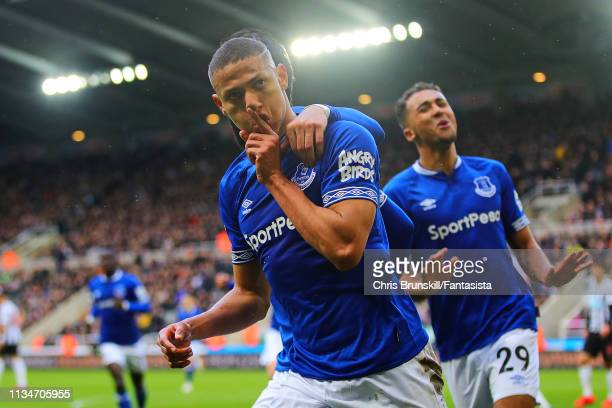 Richarlison of Everton celebrates scoring his side's second goal during the Premier League match between Newcastle United and Everton FC at St James...