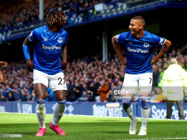 Richarlison of Everton celebrates scoring his teams first goal during the Premier League match between Everton FC and Wolverhampton Wanderers at...