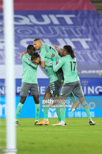 Richarlison of Everton celebrates scoring the opening goal with Abdoulaye Doucoure, Dominic Calvert-Lewin and Alex Iwobi during the Premier League...