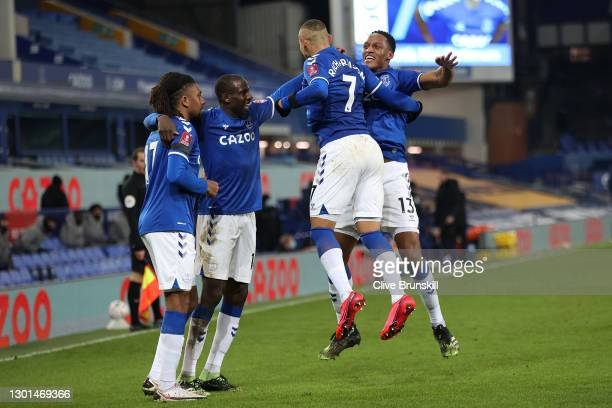 Richarlison of Everton celebrates with Alex Iwobi, Abdoulaye Doucoure and Yerry Mina after scoring his team's second goal during The Emirates FA Cup...