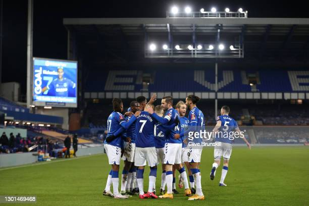 Richarlison of Everton celebrates with Yerry Mina, Gylfi Sigurdsson and Dominic Calvert-Lewin after scoring his team's second goal during The...