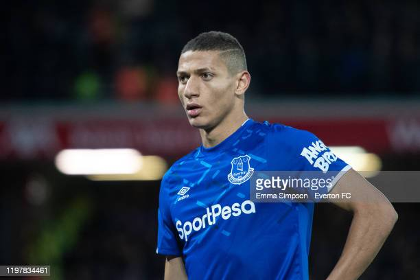 Richarlison of Everton during the FA Cup Third Round match between Liverpool and Everton at Anfield on January 05 2020 in Liverpool England