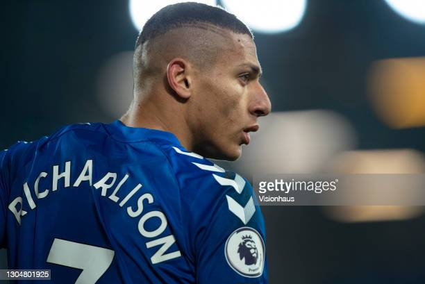 Richarlison of Everton during the Premier League match between Everton and Southampton at Goodison Park on March 1, 2021 in Liverpool, United...