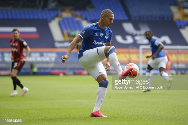 Richarlison of Everton during the Premier League match between Everton FC and AFC Bournemouth at Goodison Park on July 26 2020 in Liverpool England