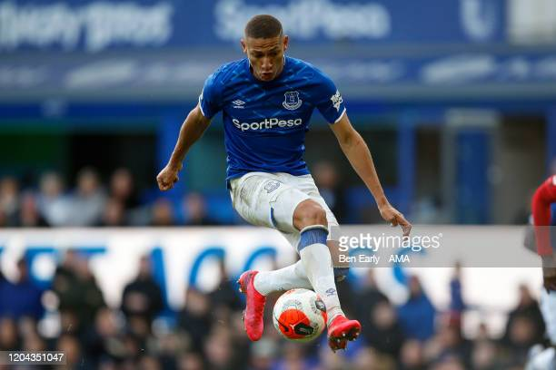 Richarlison of Everton FC controls the ball mid air during the Premier League match between Everton FC and Manchester United at Goodison Park on...