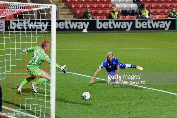 September 23: Richarlison of Everton heads to score during the Carabao Cup Third Round match between Fleetwood Town and Everton at Highbury Stadium...