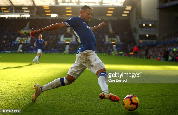 Richarlison of Everton in action during the Premier League match between Everton FC and Leicester City at Goodison Park on January 01 2019 in...