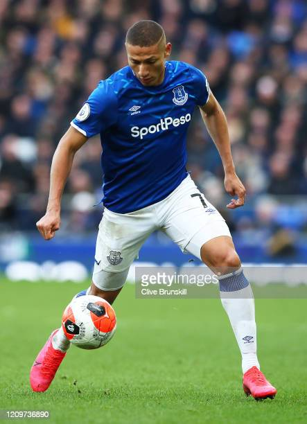 Richarlison of Everton in action during the Premier League match between Everton FC and Manchester United at Goodison Park on March 01 2020 in...