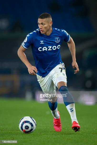 Richarlison of Everton in action during the Premier League match between Everton and Southampton at Goodison Park on March 1, 2021 in Liverpool,...