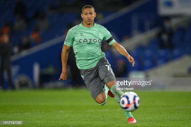 Richarlison of Everton in action during the Premier League match between Brighton & Hove Albion and Everton at American Express Community Stadium on...