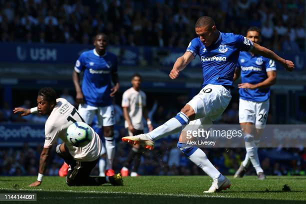 Richarlison of Everton misses a chance during the Premier League match between Everton FC and Manchester United at Goodison Park on April 21 2019 in...