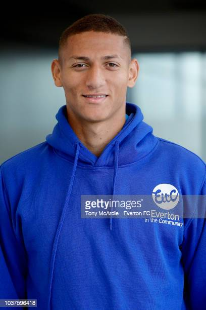Richarlison of Everton poses for a photograph as he attends an Everton in the Community event at USM Finch Farm on September 18 2018 in Halewood...