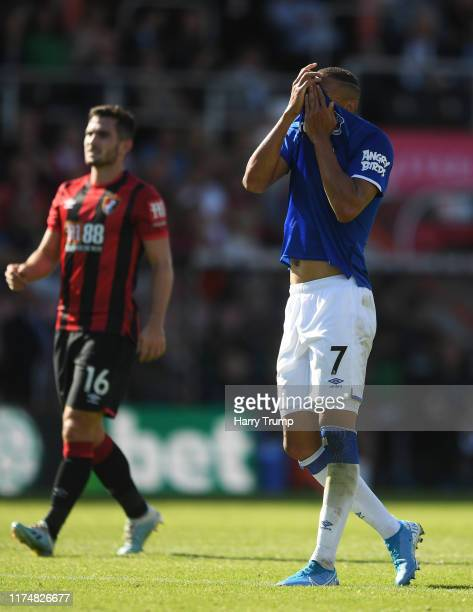 Richarlison of Everton reacts during the Premier League match between AFC Bournemouth and Everton FC at Vitality Stadium on September 15 2019 in...