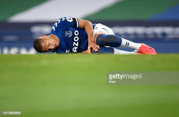 Richarlison of Everton reacts during the Premier League match between Everton and Tottenham Hotspur at Goodison Park on April 16, 2021 in Liverpool,...