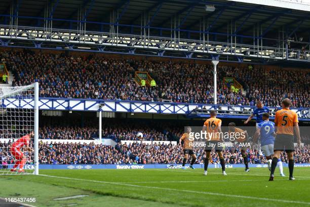 Richarlison of Everton scores a goal to make it 32 during the Premier League match between Everton FC and Wolverhampton Wanderers at Goodison Park on...